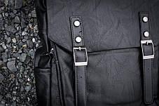 Рюкзак мужской городской кожаный черный, мужской рюкзак спортивный для ноутбука, кожаный рюкзак черный WNDR, фото 3