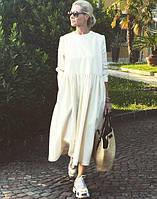 Щільне молочне лляне плаття з білоруського льону. 42-74+ плюс-сайз. Лляний одяг великого розміру, фото 1