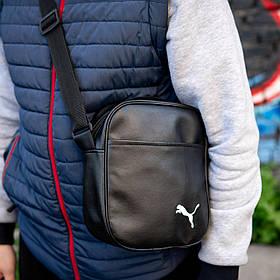 Мужская кожаная PU сумка через плечо мессенджер Puma White