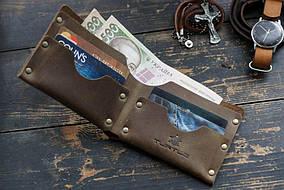 Мужской кожаный бумажник HANDCRAFT IN UA светло-коричневый
