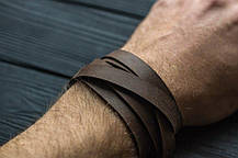 Браслет кожаный мужской mod.OldCraft 140 коричневый 6 вит., фото 3