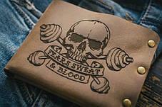 Мужской кожаный кошелек ТатуНаКоже, пот и кровь, фото 2