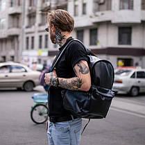 Рюкзак мужской городской кожаный черный, мужской рюкзак спортивный для ноутбука, кожаный рюкзак черный TRІGER, фото 3