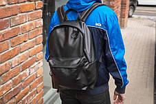 Рюкзак мужской городской кожаный черный, мужской рюкзак спортивный для ноутбука, кожаный рюкзак черный TRІGER, фото 2