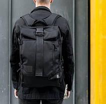 Рюкзак мужской городской спортивный черный, мужской рюкзак городской для ноутбука, рюкзак роллтоп черный WLKR, фото 2