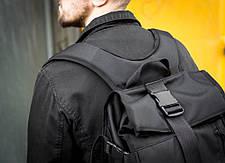 Рюкзак мужской городской спортивный черный, мужской рюкзак городской для ноутбука, рюкзак роллтоп черный WLKR, фото 3