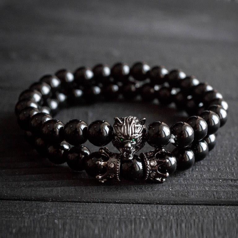 Мужской каменный браслет Black Wolf