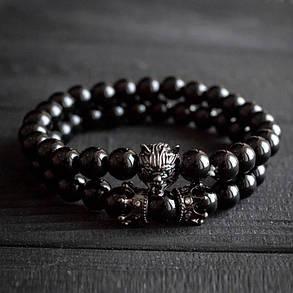 Мужской каменный браслет Black Wolf, фото 2