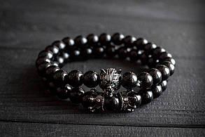 Мужской каменный браслет Black Wolf, фото 3