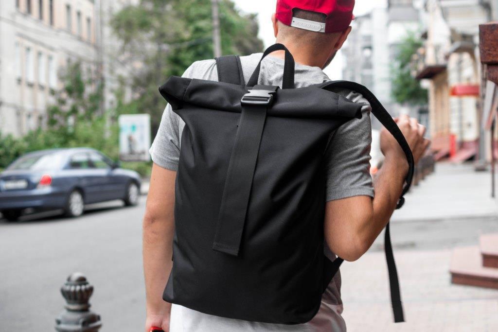 Рюкзак мужской городской спортивный черный, мужской рюкзак городской для ноутбука, рюкзак роллтоп HardBro