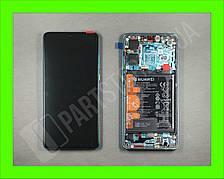 Дисплей Huawei P30 Aurora (02352NLN) сервисный оригинал в сборе с рамкой, акб и датчиками