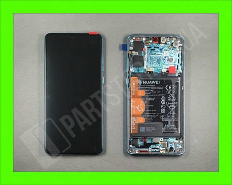 Дисплей Huawei P30 Aurora (02352NLN) сервисный оригинал в сборе с рамкой, акб и датчиками, фото 2