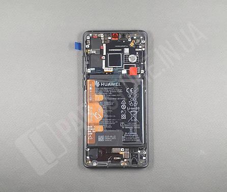 Дисплей Huawei P30 Black (02352NLL) сервисный оригинал в сборе с рамкой, акб и датчиками, фото 2