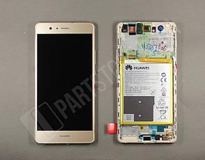 Дисплей Huawei P9 lite Gold (02350TMS) сервисный оригинал в сборе с рамкой, акб и датчиками, фото 2
