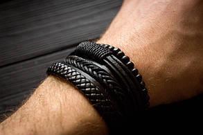 Браслет кожаный мужской mod.Liberty чёрный, фото 2