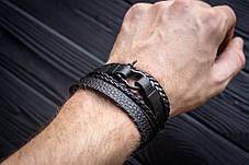 Браслет кожаный мужской mod.HiJack чёрный, фото 2