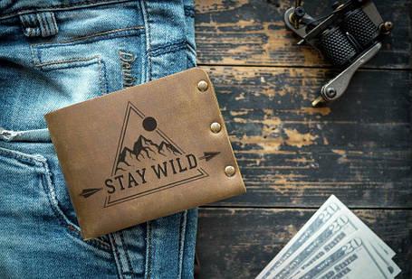 Мужской кожаный кошелек ТатуНаКоже, stay wild, фото 2