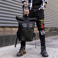 Кожаный мужской рюкзак Роллтоп  X-ROLL черный на 22л городской, для путешествий oxford 600d