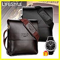 Мужская сумка Polo Videng / Сумка через плечо + Мужские часы в Подарок