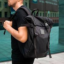 Рюкзак мужской городской спортивный черный, мужской рюкзак городской для ноутбука, рюкзак роллтоп STREAMER, фото 3