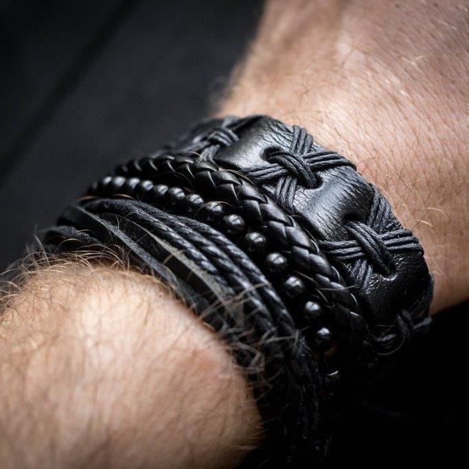 Кожаный мужской браслет mod.HARLEM чёрный, браслет из натуральной кожи
