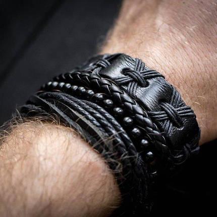 Кожаный мужской браслет mod.HARLEM чёрный, браслет из натуральной кожи, фото 2