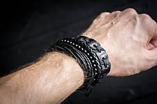 Кожаный мужской браслет mod.HARLEM чёрный, браслет из натуральной кожи, фото 3