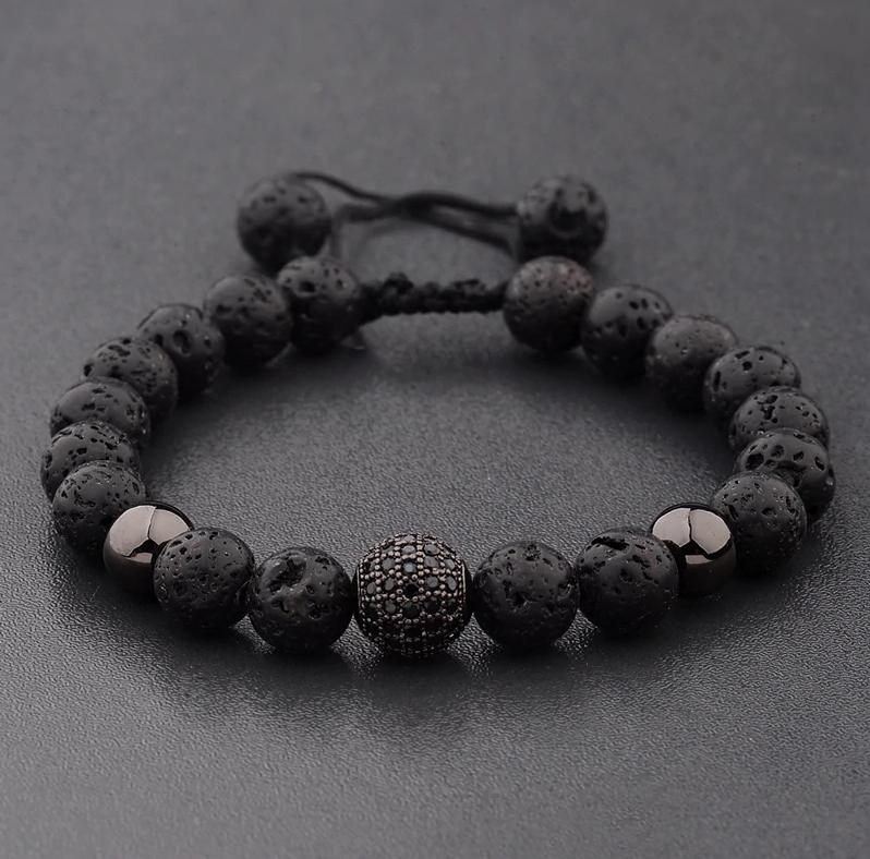 Мужской каменный браслет mod.Sfera черный