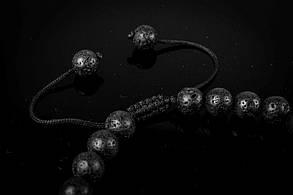 Мужской каменный браслет mod.Sfera черный, фото 2