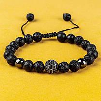 Мужской каменный браслет mod.Sfera черный, фото 3