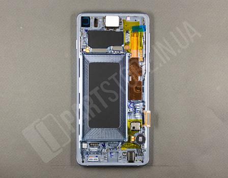 Дисплей Samsung g973 Blue s10 (GH82-18850C) сервисный оригинал в сборе с рамкой, фото 2