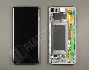 Дисплей Samsung g973 White s10 (GH82-18850B) сервисный оригинал в сборе с рамкой, фото 2