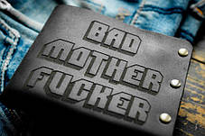 Мужской кожаный кошелек ТатуНаКоже, криминальное чтиво черный, фото 2