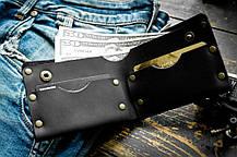 Мужской кожаный кошелек ТатуНаКоже, криминальное чтиво черный, фото 3