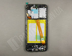 Дисплей Samsung А202 Black А20e 2019 (GH82-20229A) сервисный оригинал в сборе с рамкой, фото 2