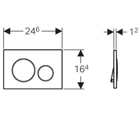 115.882.KN.1 Кнопка змиву GEBERIT Sigma20 двійний змив , хром мат/хром глянець/хром мат, фото 2