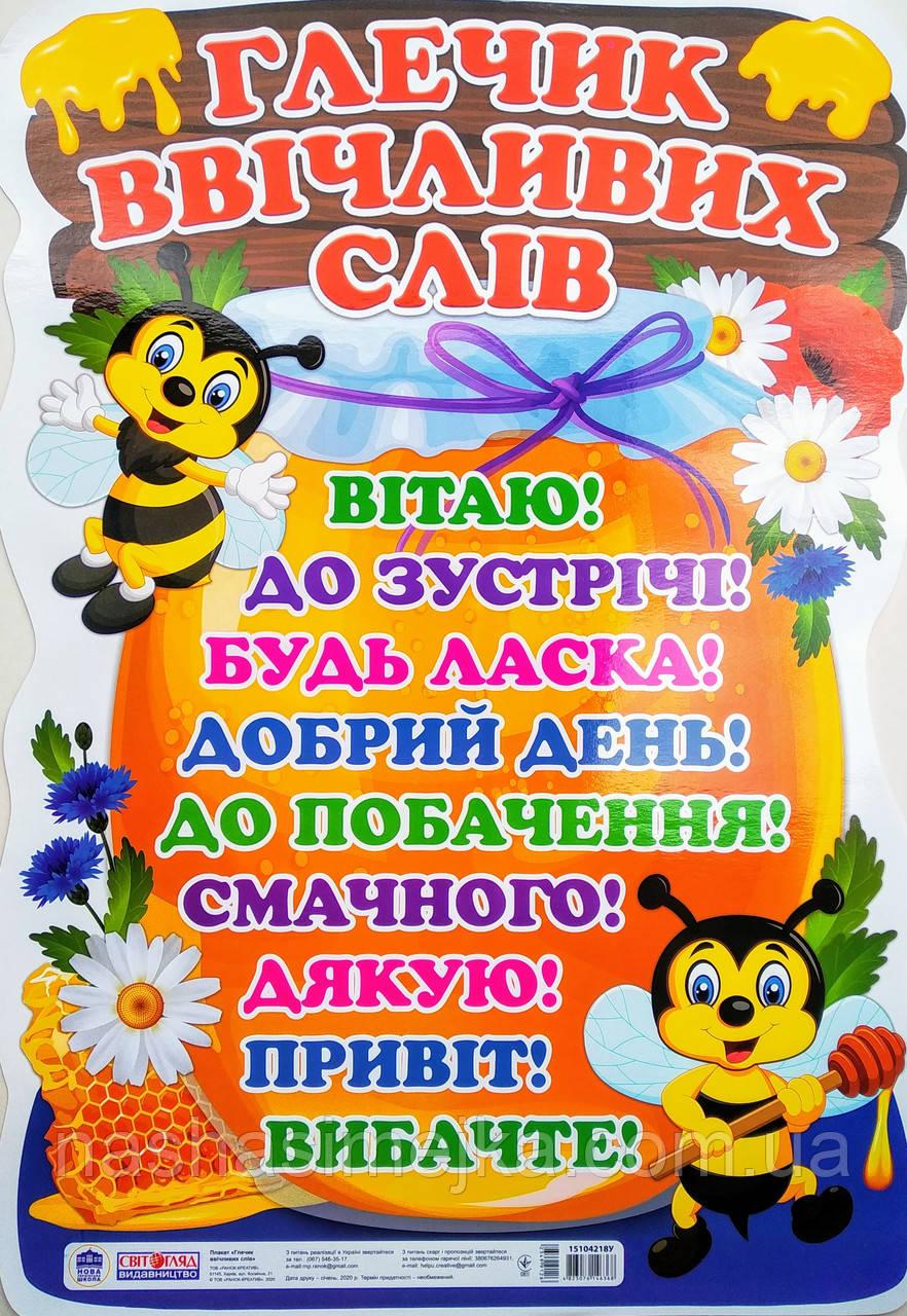 НУШ Плакат для оформлення інтер'єру приміщення «Глечик ввічливих слів». (Світогляд)