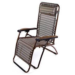 Кресло шезлонг с подлокотниками складной, ПВХ+террилен, ширина 74 см, цвет коричневый