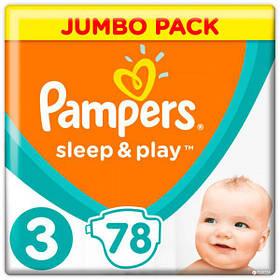Підгузники Pampers Sleep & Play Розмір 3 (Midi) 6-10 кг, 78 шт памперс сліп енд плей