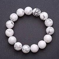 Браслет из натурального камня Кахолонг на резинке гладкий шарик d-12мм обхват 18см