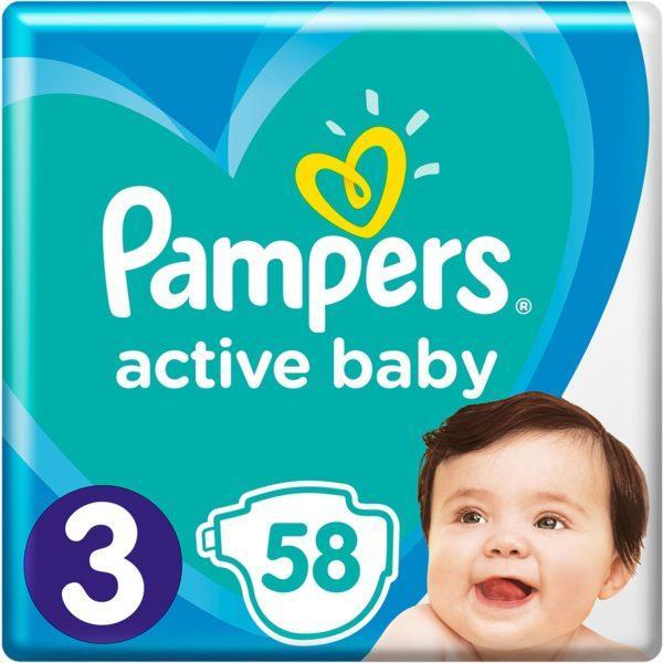 Подгузники Pampers Active Baby Размер 3 (6-10 кг) 58 шт