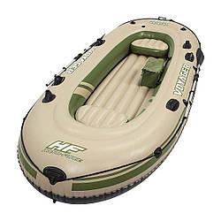 Трехместная надувная лодка Bestway Voyager 500, 348х141 см, бежевая, с веслами