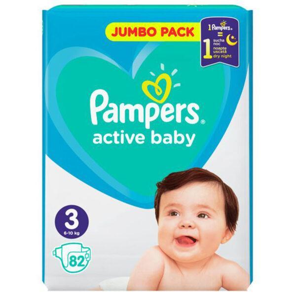 Подгузники Pampers Active Baby Размер 3 ( 82 шт / 6-10 кг) JUMBO PAKC