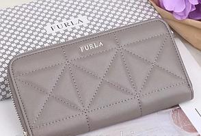 Женский кожаный кошелек на молнии в стиле Furla (962) серый