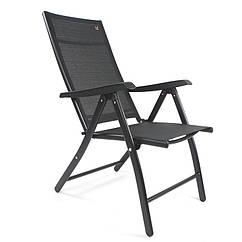 Стул со спинкой раскладной для сада, алюминиевый каркас, цвет серый, черный / Складной стул