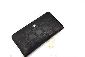 Женский кожаный кошелек на молнии в стиле Versace (3803) black