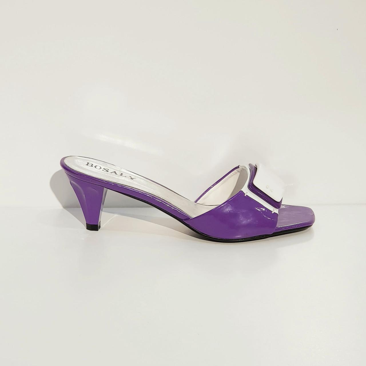 Сабо женские  летние на среднем каблуке искусственная лаковая кожа сиреневые 36