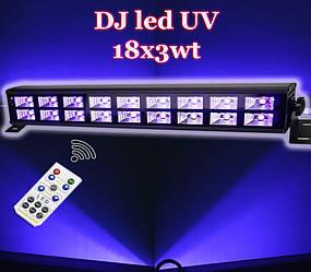 Ультрафиолетовая led панель 18х3 Вт с пультом ДУ DMX512