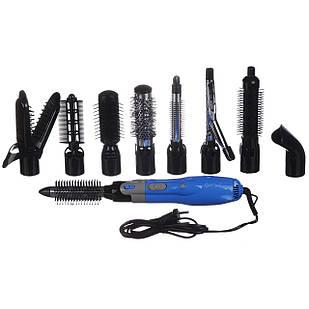 Фен воздушный стайлер для укладки волос с насадками 10 в 1 GEMEI