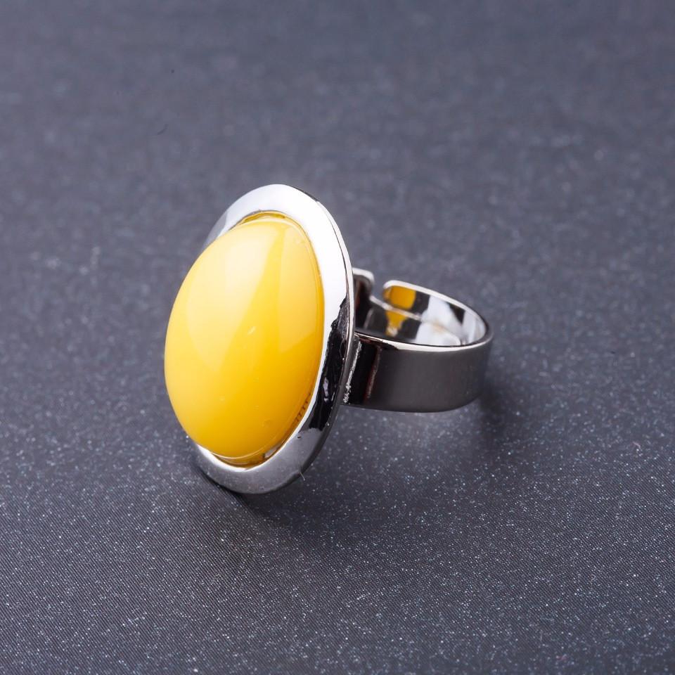 """Кольцо Янтарь (имитация) гладкая оправа плоская """"М"""" овальный камень 2,2*1,7см без р-р"""